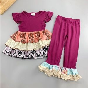 Other - NWT Burgundy Elephants Triple Ruffle Set
